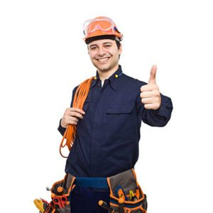 Electric worker giving a thumbs up.